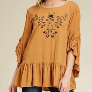 ANNABELLE EMBROIDERED RUFFLE TOP